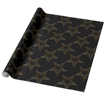 3D-Gold-Star-Black Background: Gift Supplies Wrapping Paper