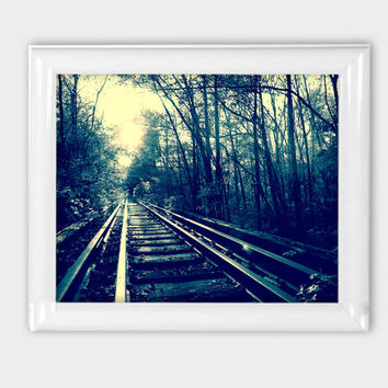 8x10 Print Dark Shadows Mythical Goth Abandoned Railroad Fairytale Forest Print Woods Photo Nature Photography Walking Path Nature Wall Art