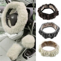 Long Plush Warm Fur Steering Wheel Cover Woolen Handbrake Car Accessory TB