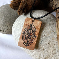 Mens Compass Necklace, Handcrafted Necklace, Nautical Compass Jewelry For Men