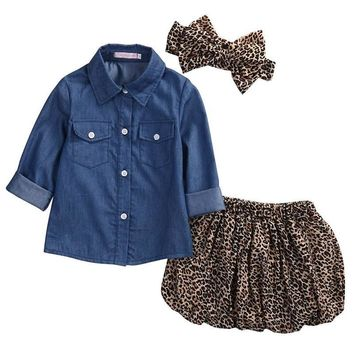 Denim Tops+Leopard Culotte Skirt+Headband Toddler Summer Clothes