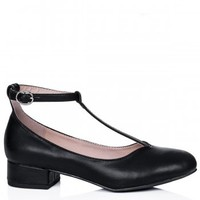 BLAR Block Heel Ankle Strap Shoes - Black Leather Style