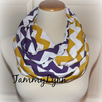 Purple & Mustard (Gold) Chevron 2 Pair Team Scarves Jersey Knit Infinity LSU ECU