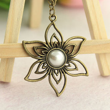 hollow out flower necklace--elves necklace,white pearl in the central,antique bronze charm pendant,alloy chain