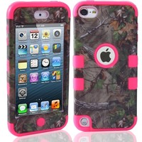 iPod Touch 6 Case, Magicsky Pine Design Dual Layer Hybrid Soft Silicone & Plastic Case Cover for iPod Touch 5 / Touch 6 (5th /6th Gen)-Hot Pink