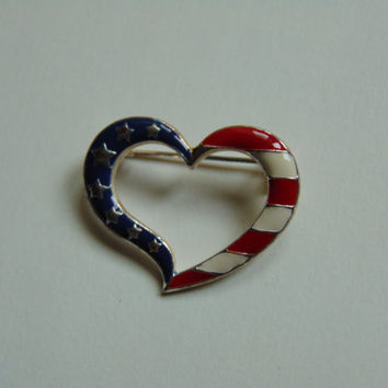 Vintage Avon American Heart Pin Brooch Lapel Red, White and Blue Patriotic