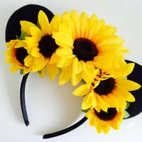 20% Off Sale! Super cute Sunflower Mickey Mouse Ears, Minnie Mouse ears, flower ears, Mickey ears, Mickey headband, ears headband