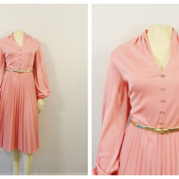 SALE Vintage Dress 70s Miss Rubette Pastel Coral Pink Satiny Dress V Neck Rhinestone Buttons Accordion Pleat Skirt Size Medium