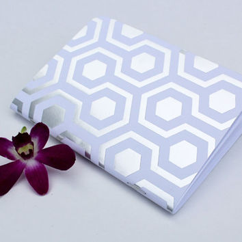 Silver Foil White Hexagon Honeycomb Traveler's Notebook Journal Stationary Planner Insert Blank Pages Sketchbook