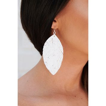 Glisten In The Night Drop Earrings (White)