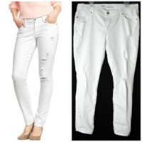 Old Navy The Sweetheart Distressed Skinny Jeans White 14