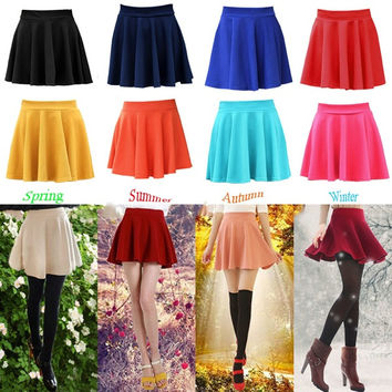New Fashion Women Candy Color Stretch Waist Plain Skater Flared Pleated Mini Skirts = 1946060740