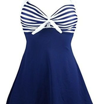 Cocoship Vintage Sailor Pin Up Swimsuit One Piece Skirtini Cover Up Swimdress