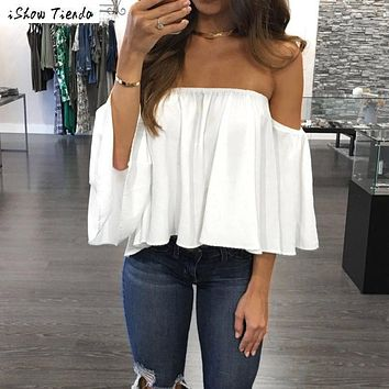 Blouse Frills Off Shoulder Top Pullover Women Solid Color Chiffon Blouse Plus Size Women Clothing Chemisier Femme #1229