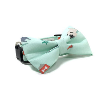Mint Green Dog Collar and Bow Set with Pugs
