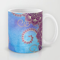 Magnolia & Magenta Floral on Watercolor Mug by micklyn