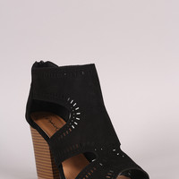 Qupid Perforated Cutout Suede Chunky Heel