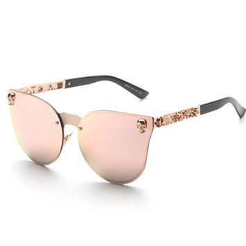 New 2016 brand vintage retro gothic steampunk mirror sunglasses women SKULL flower rose gold mirror metal rimless cat eye shades UV