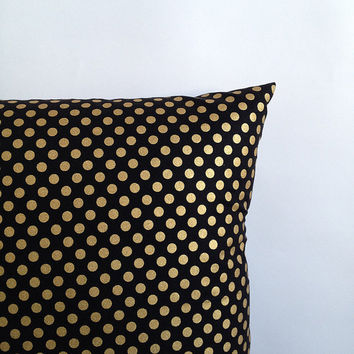 """Easter Sale! Black and Gold Pillow Cover. One 18"""" x 18"""". Sofa Pillow Cover. Black Gold Polka Dot Toss Pillow. Decorative Throw Pillow."""