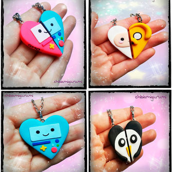 BFF Set - Friendship keychain / necklace inspired  Adventure Time Finn the human, Jake the dog, Beemo, BMO, GMO, Gunter heart polymer clay