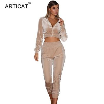 Articat Autumn Two Pieces Bodycon Jumpsuits For Women Overalls Long Sleeve Velvet Zipper Bodysuit Cropped Top Casual Full Pants
