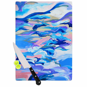 "Ebi Emporium ""Still Up The Air"" Blue Purple Cutting Board"