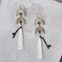 AEO Gold & White Tassel Earrings, Gold