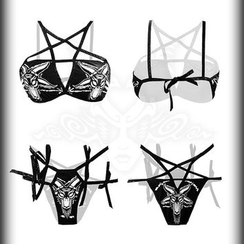 Baphomet Bikini Set  Pentagram Swimsuit Satanic Pentacle Top Occult Satan Panties Heavy Metal Clothing Inverted Black Star Harness Swimsuit