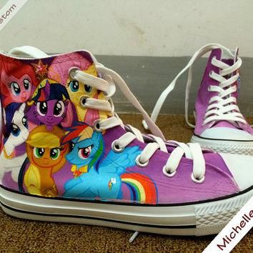 Custom Design Purple Converse Custom Hand Painted Shoes,High Top Converse Shoes,Conver