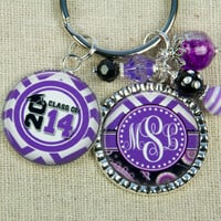 Graduation Class of 2014 PERSONALIZED Monogram or Name Key Ring in Purple, Congratulations, Birthday, Graduation Gift, Special Gift