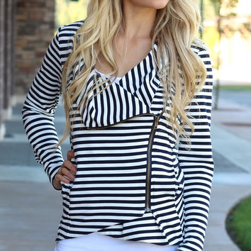 Blurred Lines Long Striped Asymmetrical Zip-Front Jacket