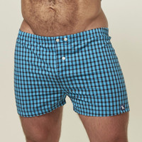 Aqua Blue & Black Check Boxer Short - Matt