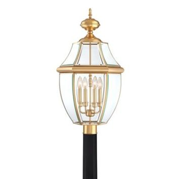 Quoizel Newbury Outdoor Extra-Large Post Lantern in Polished Brass