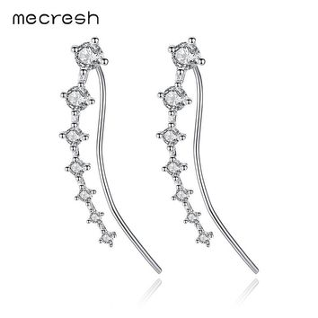Mecresh Glittering Cubic Zirconia White Gold-color Ear Cuffs Earrings Pins 925 Sterling Silver Stud Earrings for Women MEH977