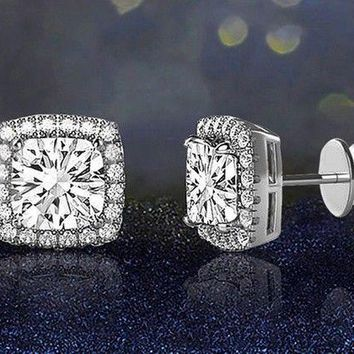 1.0 Cttw Real Diamond Halo Square Cluster Screwback Stud Earrings 10K White Gold 5056181020851