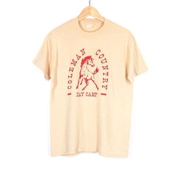 70s T Shirt -- Vintage Graphic Tee -- Horse Shirt -- Western Country Camp Shirt -- Tan & Red -- Soft Thin Cotton Tee -- Unisex S/ M