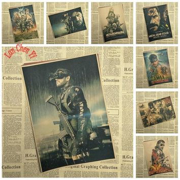 Metal Gear Solid Classic Game vintage Kraft Paper Poster Bar Cafe Living Room Decorative Paintings  wall sticker Free shipping