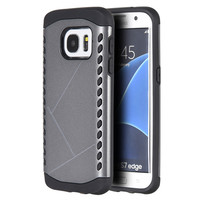 SAMSUNG GALAXY S7 EDGE SHOCKER HYBRID CASE GRAY PC + BLACK TPU