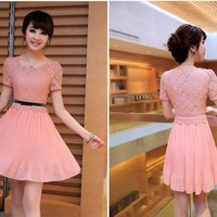 Trendy Fashion Womens Sweet Lace Splicing Chiffon Pleated Short Sleeve Dress