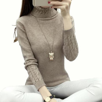 Sweater Women 2017 Autumn Winter Chunky Cable Full Sleeve High Neck Jumper Pullovers Fashion New Warm Thicken Turtleneck Sweater