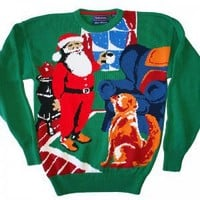 """Santa And His Dog"" Hathaway Tacky Ugly Christmas Sweater Men's Size Medium (M)"