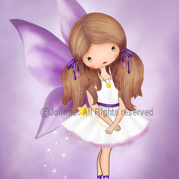 Fairy Art Print - Angel Wall Art, Child Wall Art, Toddler Wall decor, Baby Girl Nursery, Purple