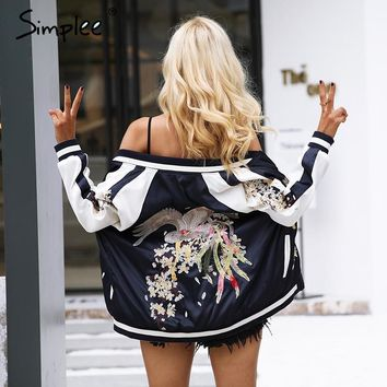 Simplee Embroidery basic jacket coat  sukajan Vintage Autumn 2017 gold satin bomber jacket Women reversible baseball jackets