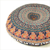 Mandala Elephant Pillows Meditation Cushion Cover Ottomans Poufs Pom Pom Tassel