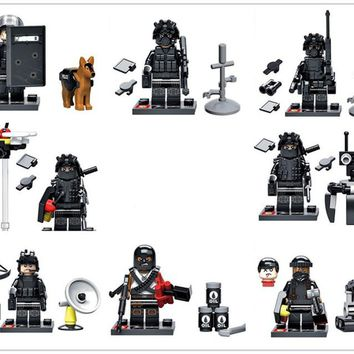 hot compatible military SWAT city Police series Building Blocks Swat Squad Commando fugures Weapons brick toys gift