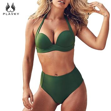 PLAVKY 2018 Retro Sexy Halter Bandage Biquini Flatter Swim Bathing Suit Swimsuit High Waist Swimwear Women Super Push Up Bikini