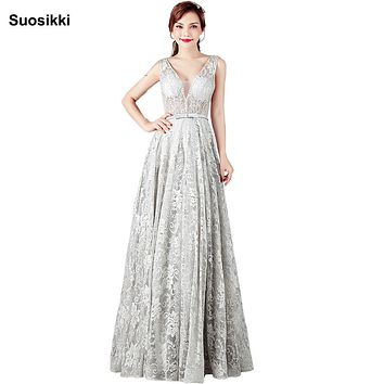 Suosikki New Design Sky blue v-neck sexy backless lace prom dresses long formal evening party gown abendkleider plus size