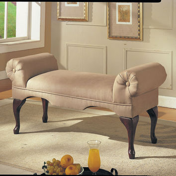 Acme Aston Bench with Rolled Arm, Beige Microfiber