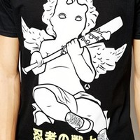 Anticulture T-Shirt with Cherub Logo and Japanese Back Print