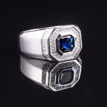 Size 8,9,10,11,12,13 Men's Luxury 925 streling Silver Blue Sapphire Rings Engagement Wedding Band ring jewelry boys